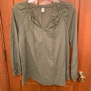 Olive green v-neck blouse